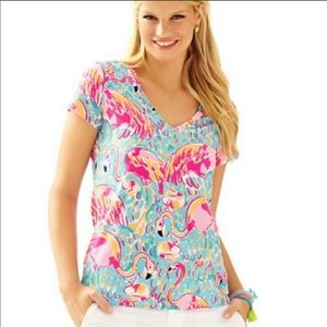 Lilly Pulitzer Michelle top peel n eat flamingo M